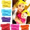 11 colors Fashion Headbands 1 Set of Sweet Mama Baby Bohemia Elastic Ribbon Bow Hairband Turban Rabbit Knot Headband Accessories
