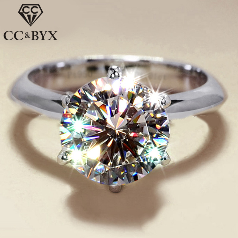 CC S925 Rings For Women Silver Color Wedding Ring Bridal Jewelry Round Stone Engagement Party Bijoux Femme Drop Shipping CC633