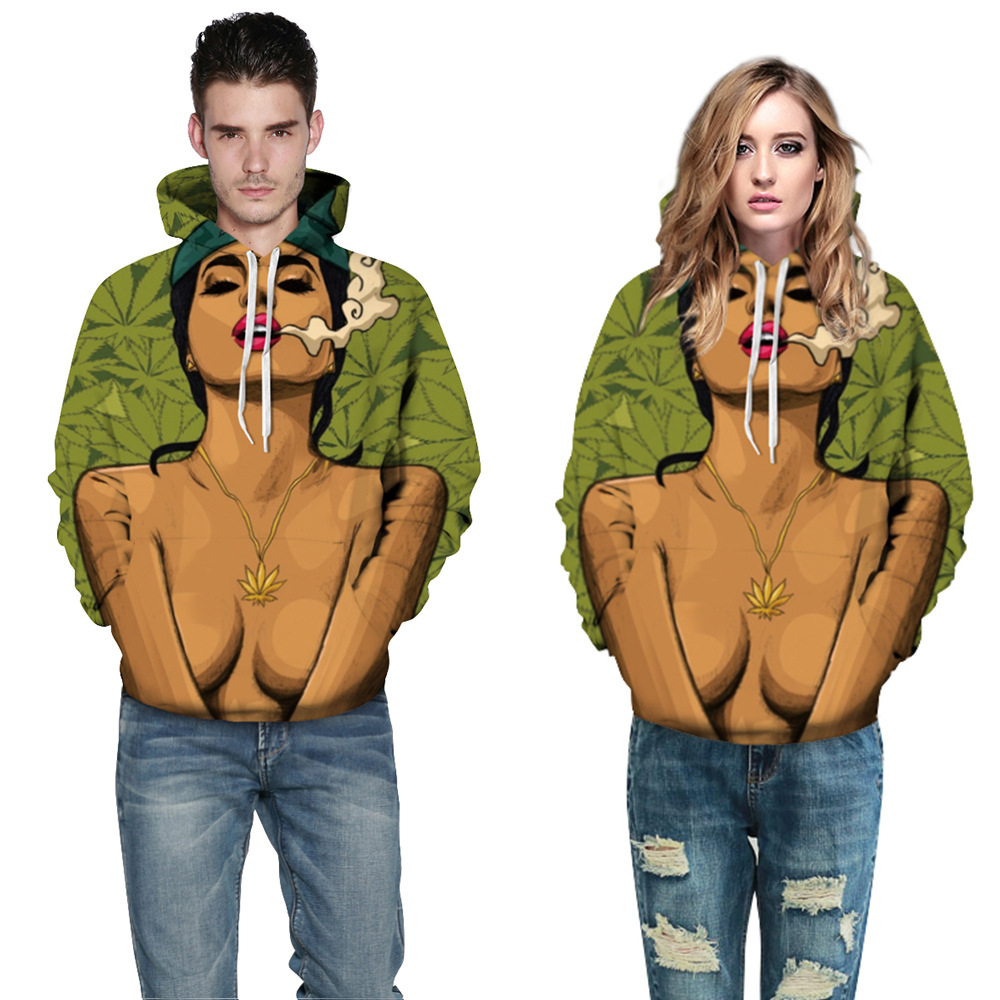 Adogirl Fall Winter Beauty and Cigarette Punk Hoodie for Men New Fashion Womens Coat With Pocket Digital Print Hooded Pullovers