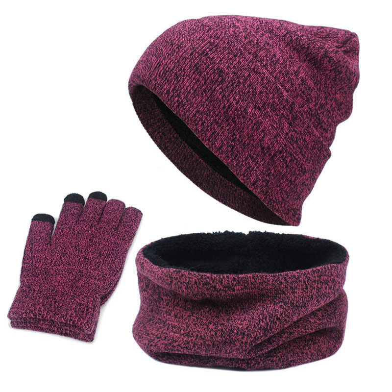 Winter Warm Unisex Scarf Hat & Glove Sets Thick Infinity Scarf Smart Touch Screen Texting Gloves Set Skullies Beanies