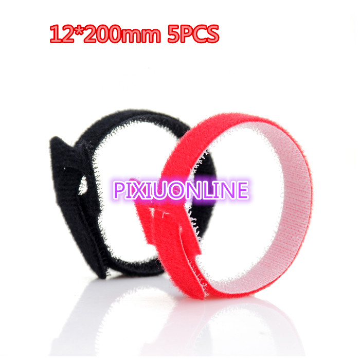 5PCS  YT1111b Magic Tape Strap 5 Colors   Cable Tie   Wide 12 mm  Length 200 mm  sell at a loss  Free Shipping