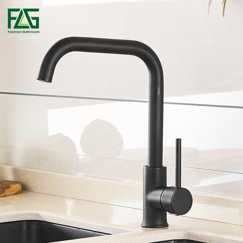 FLG Kitchen Faucet  Black 360 Rotate Mixer Faucet For Kitchen Rubber Design Hot And Cold Deck Mounted Crane For Sinks 974-33B