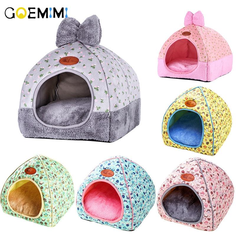 Новый брендовый теплый домик для питомца с милым бантиком, зимний домик для питомца, подстилка из флиса, мягкое гнездо для маленькой собаки среднего размера, домик для кошки