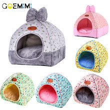 Brand New Cat Warm Cave Lovely Bow Design Puppy Winter Bed House Kennel Fleece Soft Nest For Small Medium Dog House for cat(China)
