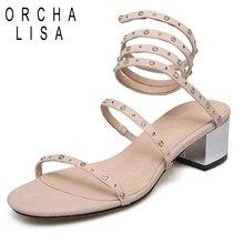 041cc4e58198 ORCHA LISA Sandale pour femme Mi talon Femmes véritable chaussures en cuir  Pour Enfants en suède Rivets Spirale Slip sur Noir Nu.