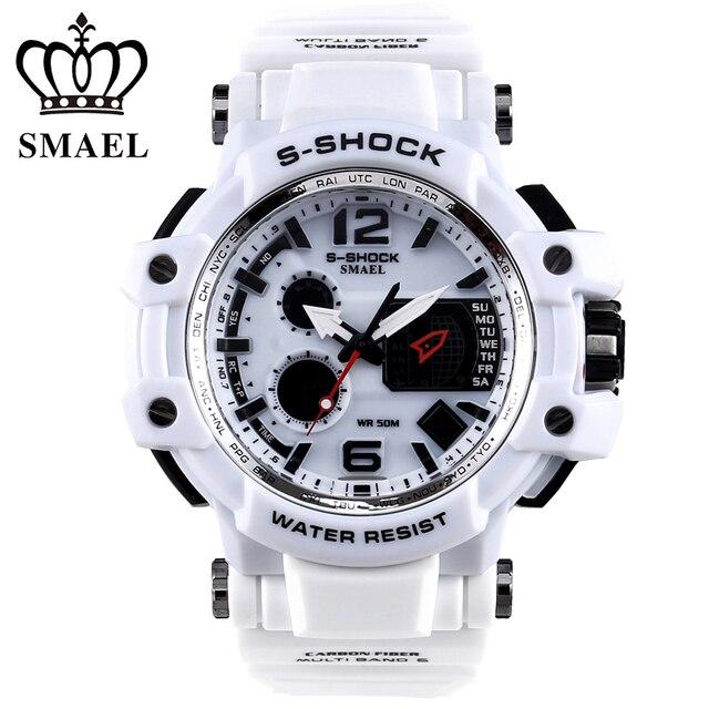 3451d6d2fab2 Smael marca hombres relojes montre reloj deportivo LED Digital impermeable  reloj ocasional s shock reloj relogios