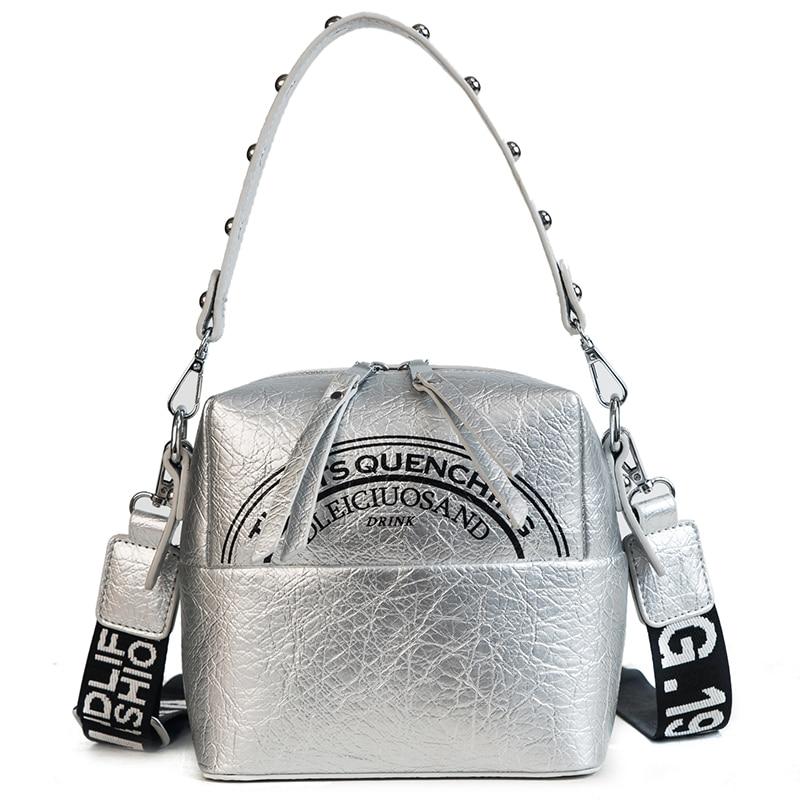 Semicircle letter printing pattern women crossbody bag Rivet hand strap shoulder bag zipper Cube pleated pu leather soft handbag цена 2017