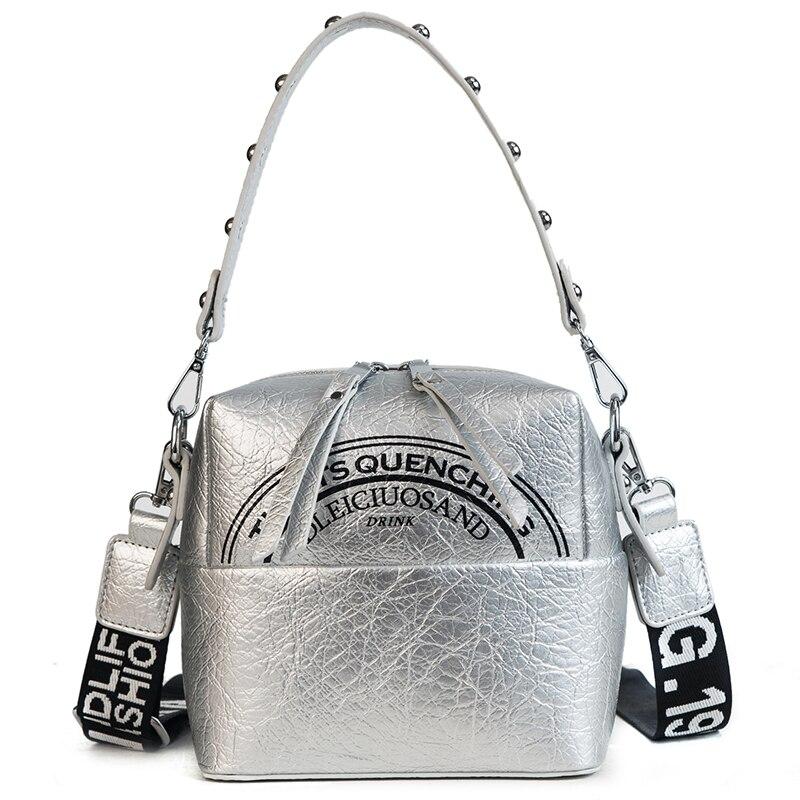 Полукруг Письмо печати, crossbody сумка заклепки ремешок сумка на молнии Cube плиссированные искусственная кожа мягкая сумка