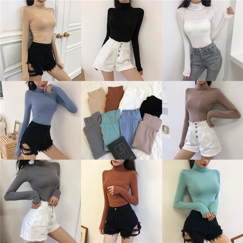 2018 Women   T     Shirt   Long Sleeve Casual Winter Basic Tee Turtle Neck Solid Plain   Shirt   Chinese Clothing