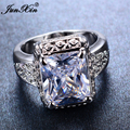 JUNXIN Fashion Big White Geometric Ring Princess Love Jewelry Luxury White Gold Filled Ring Vintage Wedding Rings For Women