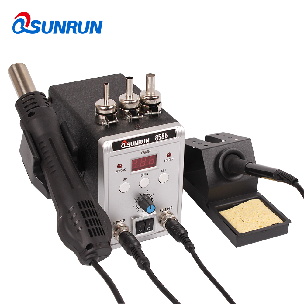 Silver 8586 700W 220V 2 in 1 SMD Rework Soldering Station Hot Air Gun Solder Iron With welding Repair Tools Free ShippingSilver 8586 700W 220V 2 in 1 SMD Rework Soldering Station Hot Air Gun Solder Iron With welding Repair Tools Free Shipping