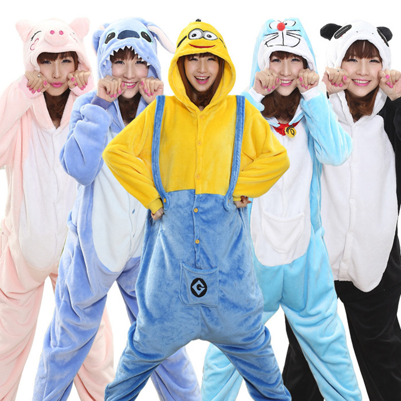 HOT Unisex Adult Panda Skull Cow Totoro Stitch Tiger Owl Pajamas Anime Cartoon Cosplay Costume Animal Onesie Hooded Sleepwear