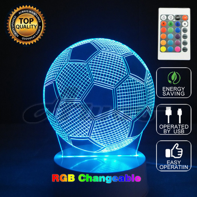 Colors Changing Novelty Table Lamps Soccer Ball Light Football Illusion Glow Party Decor Lamp With
