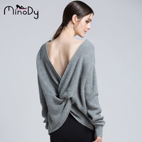 Minody Sexy Backless Criss Cross Knitting Winter Sweater Women Fashion Pullover Female New 2017 Autumn Winter