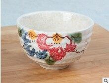 Free shipping good quality Japanese matcha bowl ceramic matcha tea set 300ml export peony flower bowl