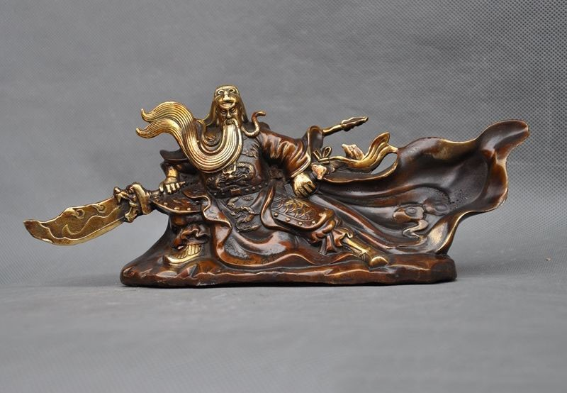 christmas Old Chinese folk bronze gilt Generals dragon warrior guangong Guan Yu god statue halloween