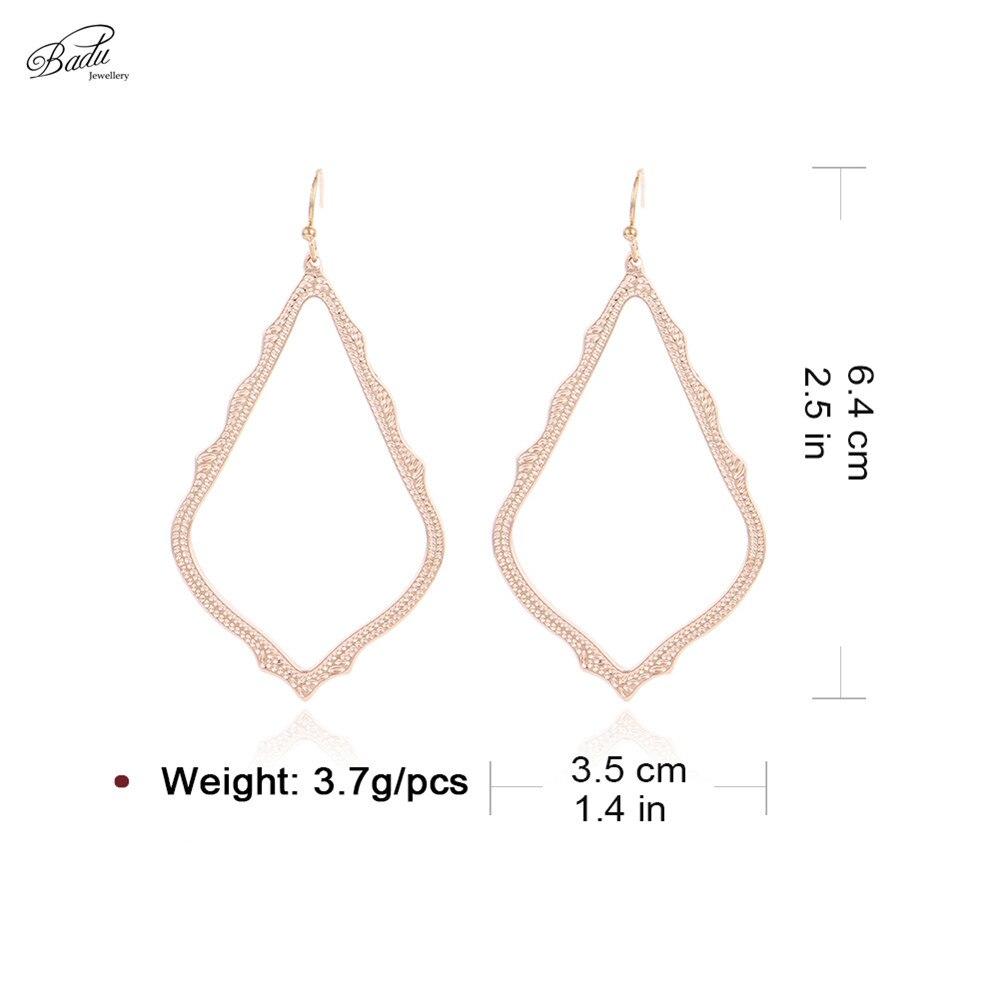Badu Geometric Metal Earring for Women Big Rhombus Pendant Drop Earrings Punk Jewelry Vintage Fashion Wholesale in Drop Earrings from Jewelry Accessories
