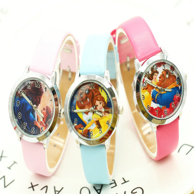 2017 Cartoon new fashion Beauty and the Beast Watches Children Kids Boys gift Wa