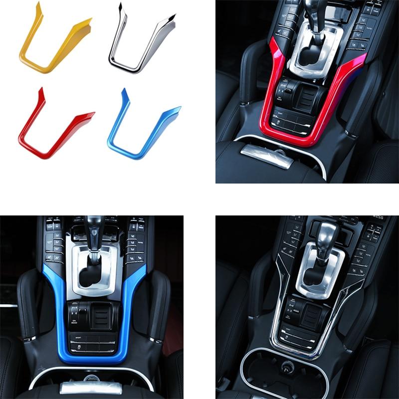 Pour 2011-2017 PorscheE Cayenne Cockpit console modifications Intérieures Chrome Garniture Décoration Accessoires Tricolore