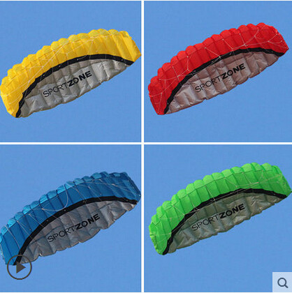 Free Shipping High Quality 2.5m Dual Line 4 Colors Parafoil Parachute Sports Beach Kite Easy to Fly