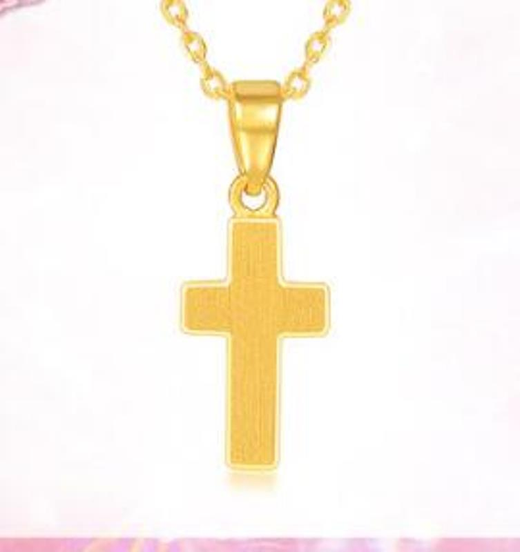 New Arrival Pure 24k Yellow Gold Women 3D Lucky Cross Pendant 1.17g