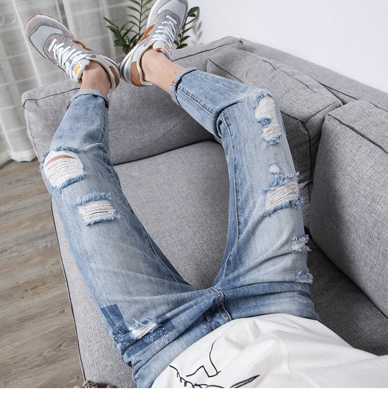 KSTUN Men's Jeans Korean Style Thin Cotton Ripped Distressed Painted Denim Jean Man Jogger Hiphop Broken Jeans Length 90cm-97cm 23