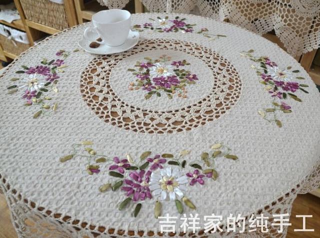 Spring Garden   Handmade Ribbon Embroidery Crochet Round Tablecloths  European Style Garden Fabric Table Cloth