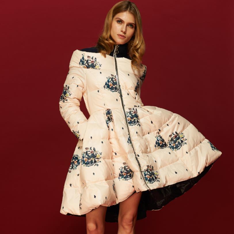2018 High Quality Floral Print   down     coat   Women's   Down   Jacket Parka Princess Skirt Off Shoulder Female Winter   Coats   Clothes w1094