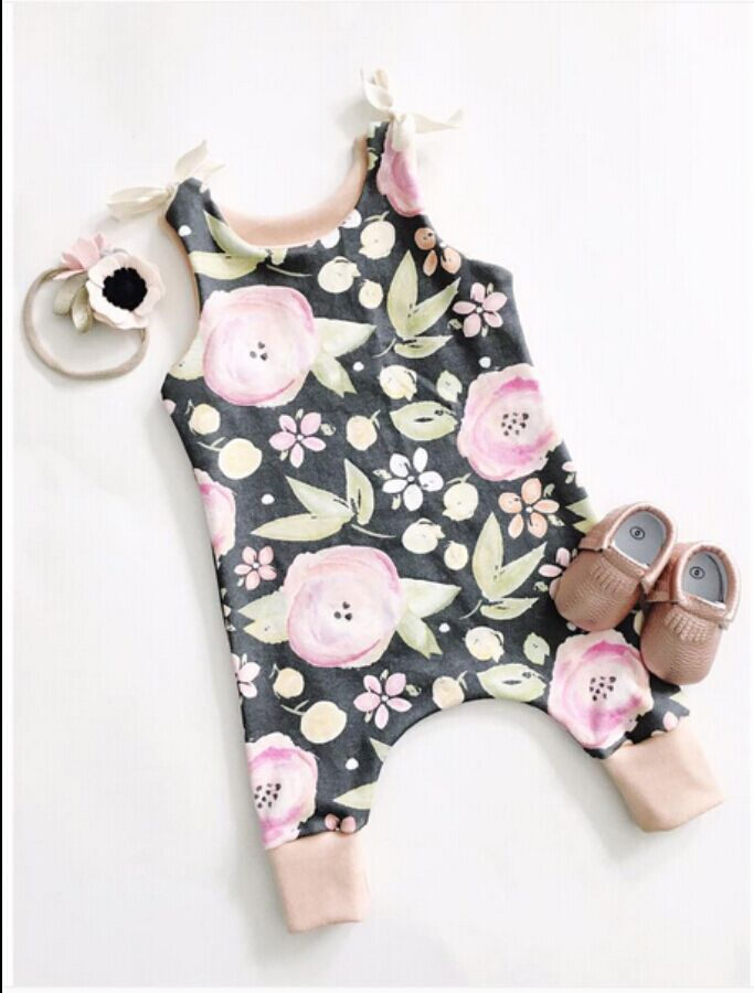 2017 cotton Toddler Kids Girls Clothes Sleeveless Floral Romper Baby Girl Rompers Playsuit One Pieces Outfit Kids Tracksuit 2016 hot selling baby kids girls one piece sleeveless heart dots bib playsuit jumpsuit t shirt pants outfit clothes 2 7y