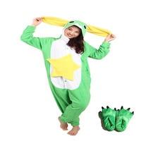 New Adult Unisex Animal Onesie Soft Fabric Lovely Green Frog Animal Pajamas With Paw Shoes Long Ear Design Pajamas Sleepwear