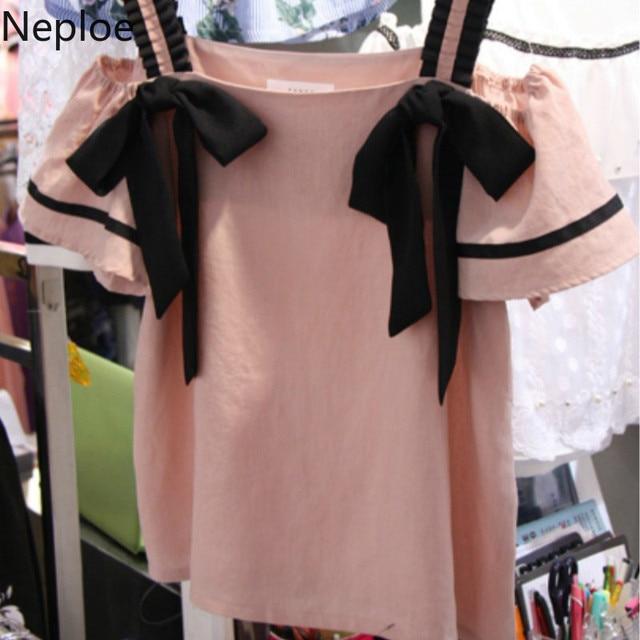 Neploe רצועת ראפלס חולצה נשים חולצה סלאש צוואר כבוי כתף קיץ ורוד חולצות חולצות Streetwear Blusas 2019 קוריאני 39301