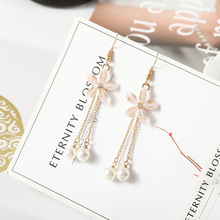 Individual character pearl flower contracted joker pendant long earring female wholesale