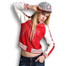 Leather Jacket Women Bomber Jacket Pink Windbreaker Jacket 2016 Spring College Patchwork Baseball Jacket 4 Colors UV1306