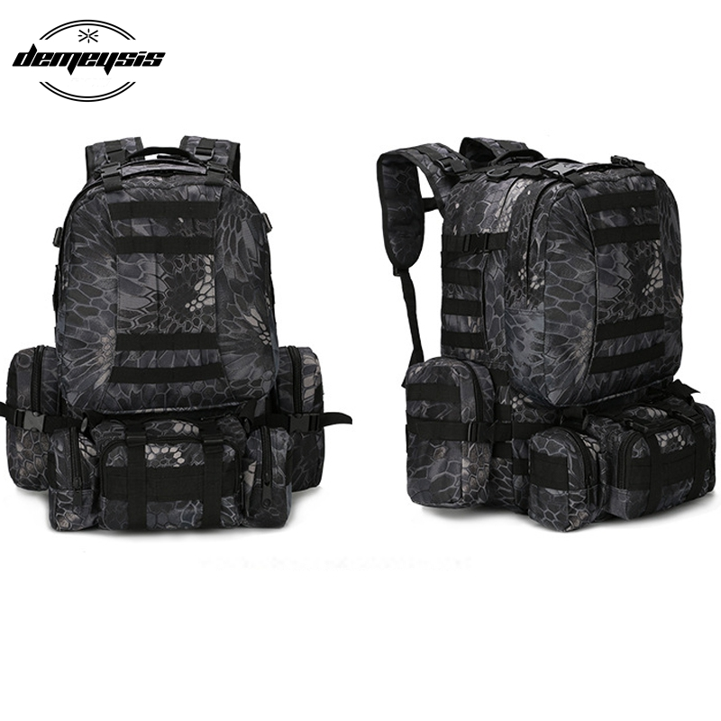 Camouflage Outdoor Bag Military Army Tactical Backpack Large Rucksack Mountaineering Bag for Camping Hiking