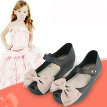 Pearl Bow Ribbon Mini Melissa Shoes Girls Sandals Bowtie  Fashion Toddler Shoes Jelly Chaussure Enfant Fille
