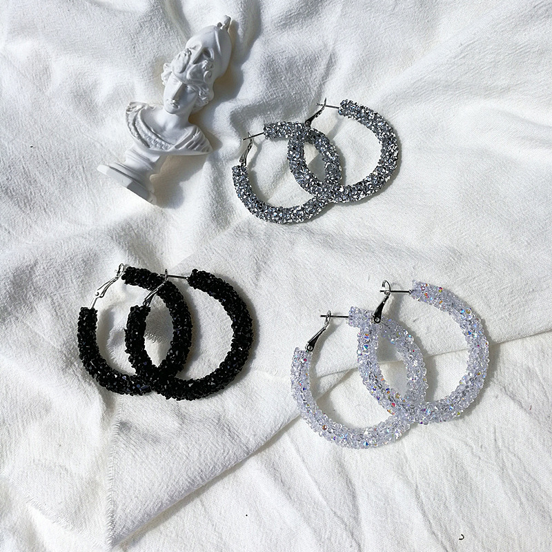crystal round ear ring and ear ring ultra bright crystal blingbling series of fashionable Earrings