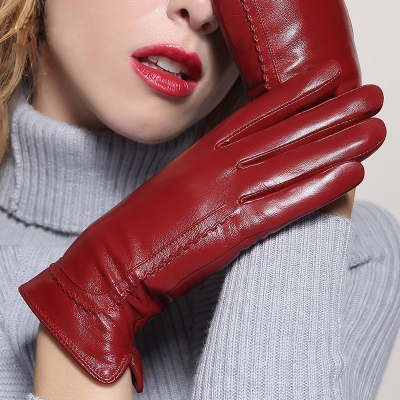 Genuine Leather Gloves Female Warm Thicken Driving Touchscreen Sheepskin Gloves Lady Leather Mittens MLZ036 in Women 39 s Gloves from Apparel Accessories