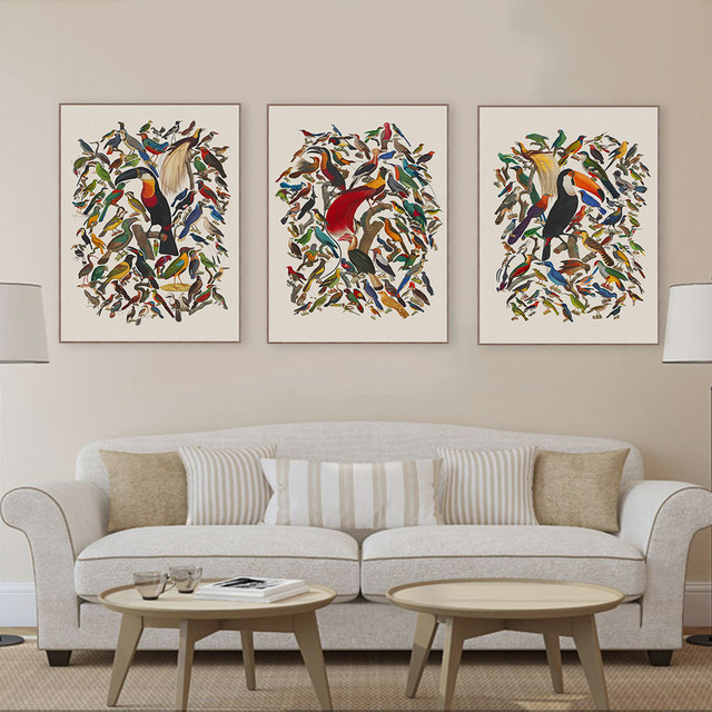 b064f36d8e3 Triptych Vintage Retro Watercolor Birds Canvas Art Print Poster Large  Animal Wall Picture Home Decor Painting No Frame