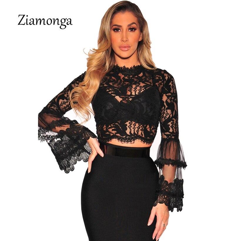 2019 Sexy Women Sheer Lace Crop Tops High Neck Long Sleeve Mesh Tshirts New Club Party Slim T Shirt Short Ladies Tops Black T-shirts