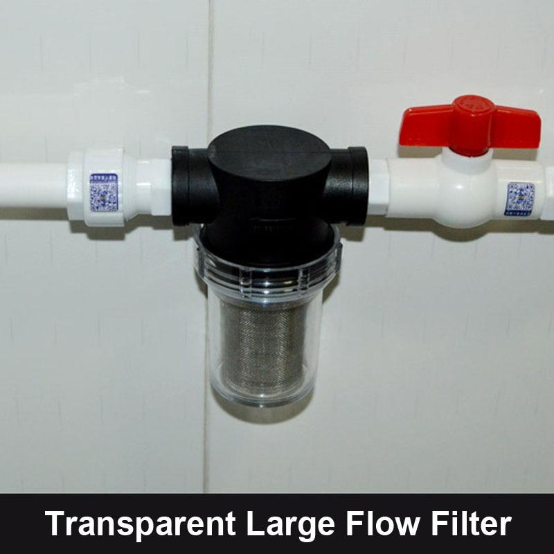 NuoNuoWell 1/2 ''3/4'' 1 ''Visible Transparent Tuyau D'eau Pré-Filtre Grand Débit Jardin D'irrigation Connecteur 40 maille Filtre Net