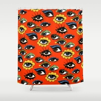 Vintage 60s Eye Pattern Shower Curtain Art Shower Decorative Waterproof Polyester Fabric 8 Sizes Shower Curtain 12 Hooks