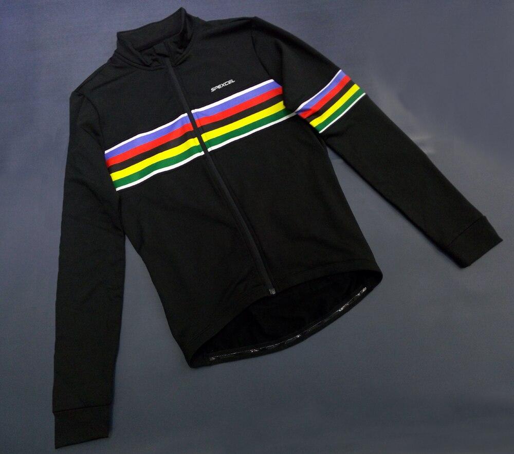 Prix pour NOUVEAU ARRIVENT champion du monde UCI arc-en-noir hiver en laine polaire thermale Long Cyclisme Manches Jersey De Bicyclette De Vélo Porter Ropa Ciclismo