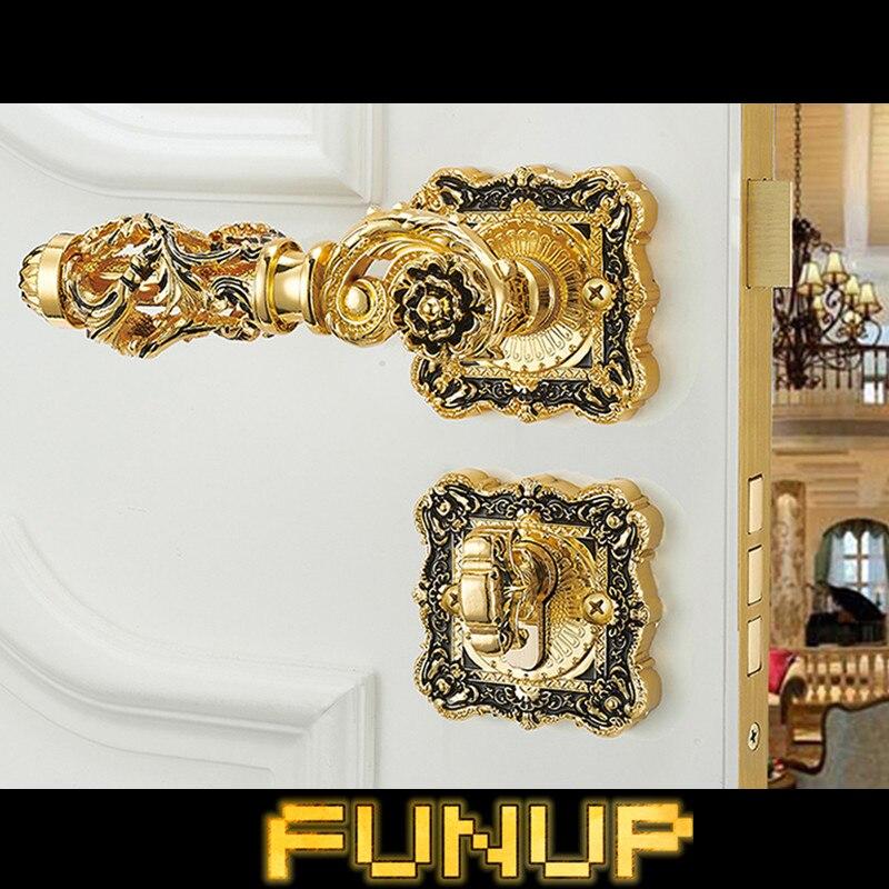 CLASSIC ROSSETTE ZINC ALLOY MATERIAL  GOLD COLOR EXPORT RUSSIA DOOR LOCK HANDLE
