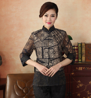 Navy Blue Spring Autumn Women Sexy Shirt High Quality Cotton Blouse Vintage Hollow Out Floral Shirts