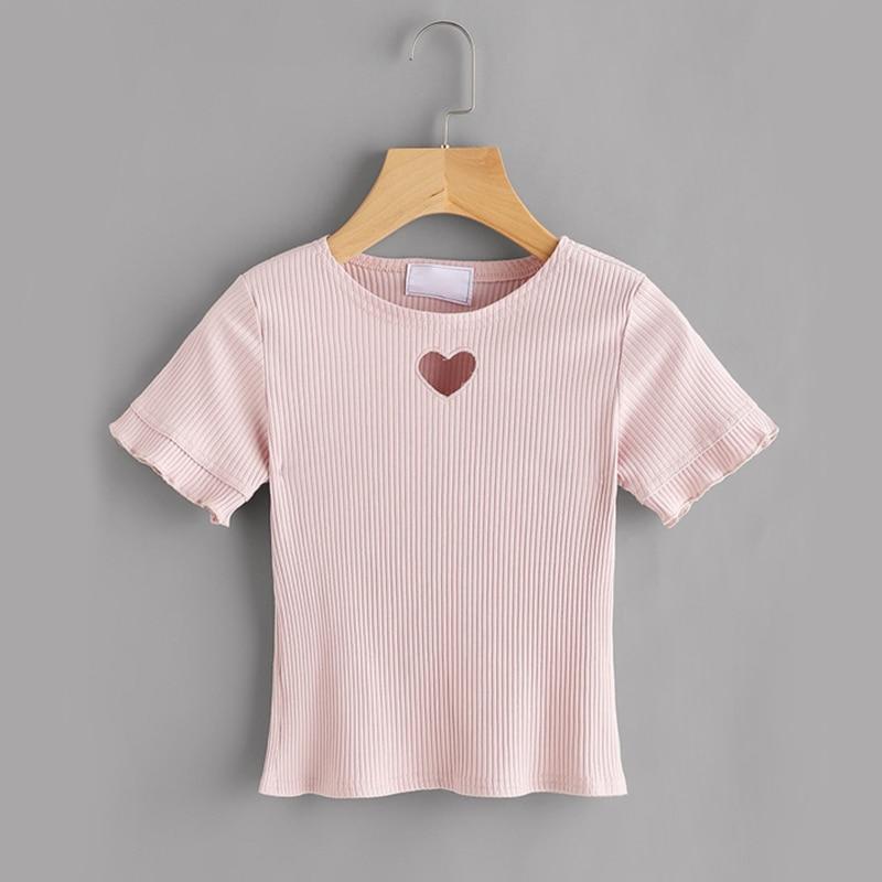 Cute Heart Cut Pink Ribbed Women T-shirt