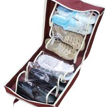 10pcs Portable Non-woven Sorting Shoe Box Bag Wine Red Tote Travel 6 grid Dust Shoes Storage Basket