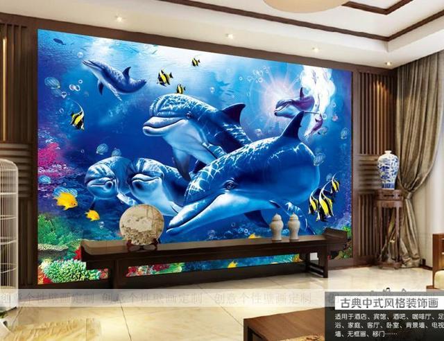 US $10 64 35% OFF Custom photo wallpaper 3D ocean dolphin theme wallpaper  mural Hotel children room TV backdrop wallpaper-in Wallpapers from Home