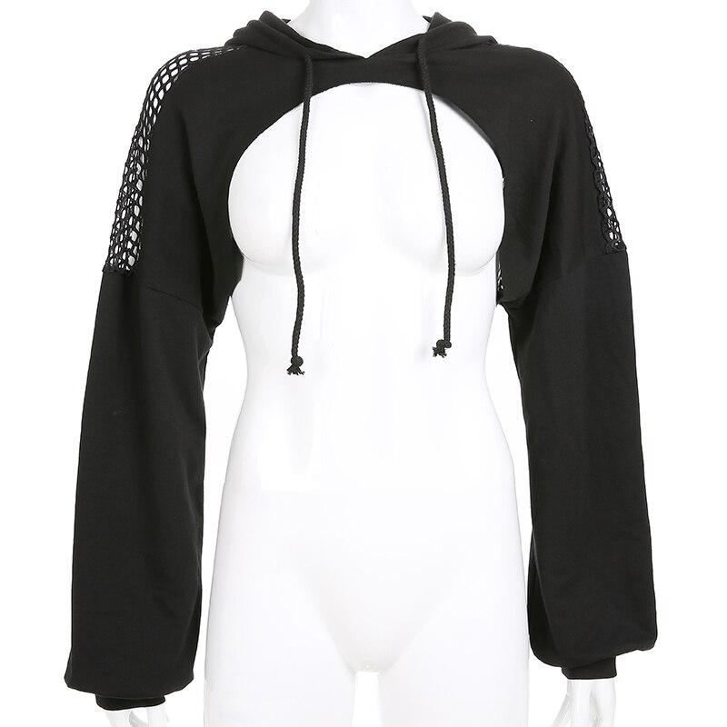 Sweetown Punk Long Sleeve Crop Top Hoodies Sweatshirts Women Black Mesh Fishnet Hollow Out Hip Hop Gothic Hoodie Rave Streetwear 4