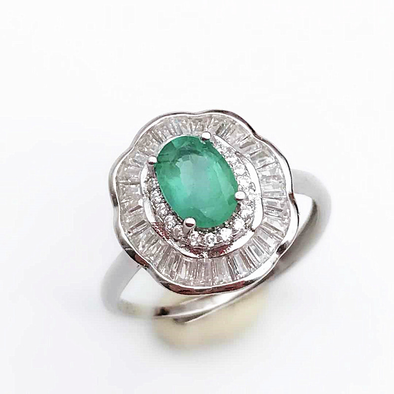 Emerald Statement Ring 925 Sterling Silver Wedding Fine Jewelry For Women