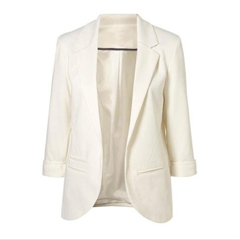 Women Formal Jackets Office Work Open Front Notched Blazer 2018 Autumn Slim Fit Blazer White Ladies Blazer 11 Colors Size S-XXL